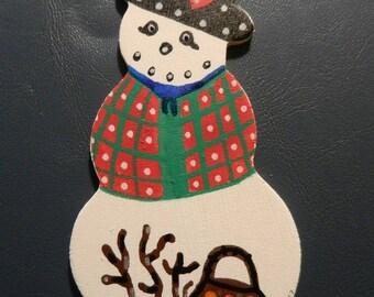 Hand Painted Pennsylvania Dutch Belsnickel Snowman Magnet