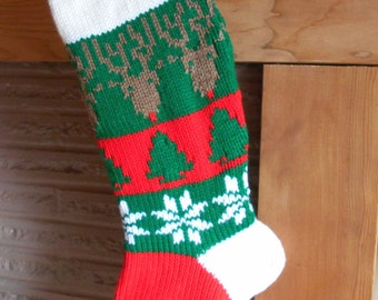READY TO SHIP Christmas Stocking Knitted With Lining With Reindeer And Snowflakes