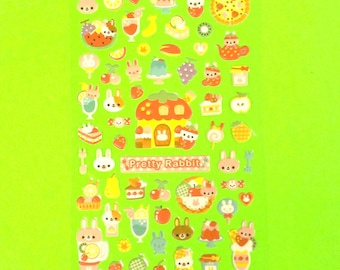 Pretty Rabbit Bunny Dessert Pie Food Cute Super Kawaii Kitschy Kyuuto Puffy Vinyl Sticker Set