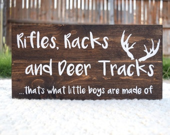 Hunting Decor, Hunting Nursery, Rifles Racks and Deer Tracks That's What Little Boys Are Made Of, Deer Antlers, Hunting Baby Hunting Bedroom