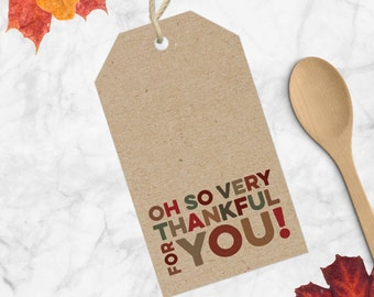 Thankful For You Gift Tags | Printable Thanksgiving Gift Tags | Holiday Gift Tags | Give Thanks Gift Tags