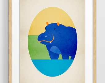 Hippo Art Print, Safari Nursery Decor, Zoo Animal Art, Nursery Print, Alphabet Wall Art, Hippopotamus