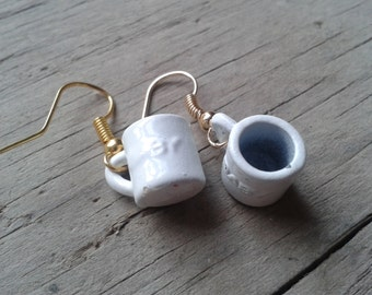 Pair of White Baby Mug Earrings - Upcycled Gift for Her - New Mothers, Nursery Teachers, Midwives