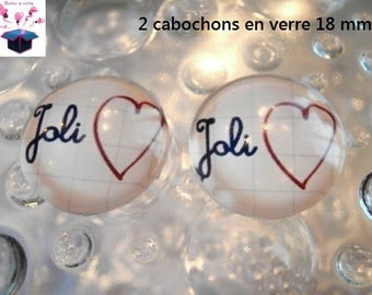 2 glass cabochons domed 18mm heart theme