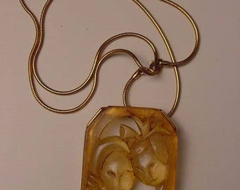 vintage pendant lucite on gold tone chain