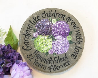 TEACHER GIFT, Retirement Gifts, Hydrangea Teacher Gift, Hand Painted Stepping Stone, Retirement Gifts, Painted Hydrangeas, Teacher Gift Idea