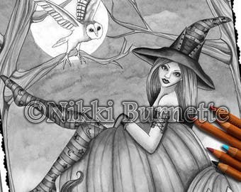 Adult Coloring Page - Grayscale Coloring Page Pack - Printable Coloring Page - Digital Download - Fantasy Art - ZOE - Nikki Burnette