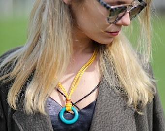 Leather jewelry!Cord leather necklace!Boho necklace!Gipsy chocker leather necklace!Pendant necklace!