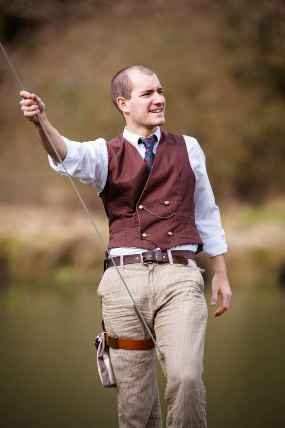 Smart Brown Double Breasted Steampunk Waistcoat in Cotton with Brass Buttons and Two Watch Pockets- The Watchman's Waistcoat j3lvPcaoY