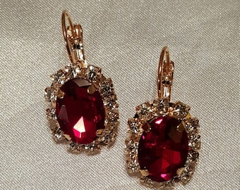 Gorgeous Red Cubic Zirconia Lever back earrings