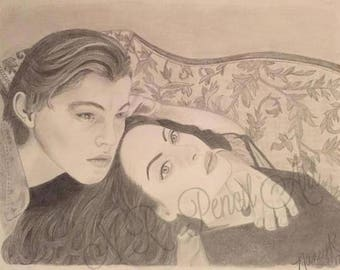 Jack and Rose from Titanic Kate Winslet and Leonardo DiCaprio Original Drawing
