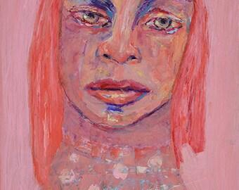 Acrylic Mixed Media Collage Pink Tonal Portrait Painting. Original Art. Small Apartment Wall Art.