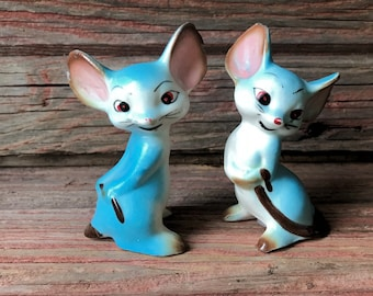 Whimsical Blue Anthropomorphic Mice Japan Salt and Pepper Shakers