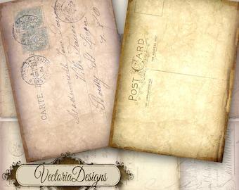 Tattered Postcard ATC digital background instant download printable collage sheet VD0043
