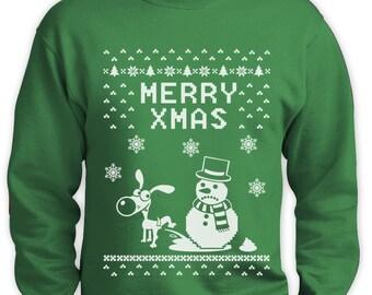 Snowman and Dog Ugly Christmas Sweater Men Sweatshirt