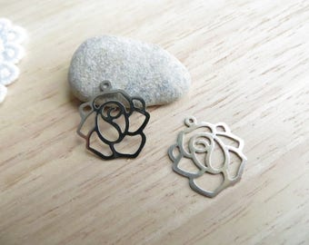 4 filigree 20mm silver plated Camellia flower charms