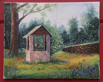 Wishing Well Oil Painting, Water Well Painting, Original Oil Paintings, Home Decor, Wall Art