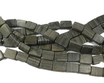 19mm Natural Wood Marble Rectangle Beads