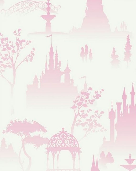 Elegant Pink And White Enchanted Toile Wallpaper Princess Castle
