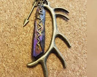 Rustic Antler and Mystic Indigo Purple Titanium Quartz Boho Necklace - Antique Bronze Antler and Arrow Totem Charms