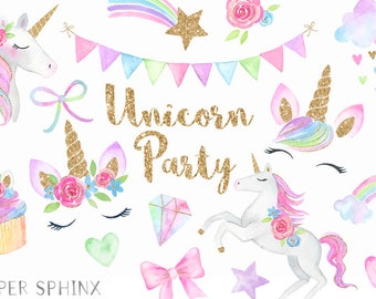 Watercolor Unicorn Face Clipart | Unicorn Party Clipart - Pastel Unicorn Heads - Rainbow, Stars, Clouds - Digital PNG Files