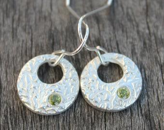 Peridot earrings, peridot stone earrings, green gem earrings, silver circle peridot earrings, silver peridot earrings, peridot cabochon