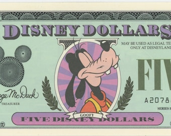Disney Dollars, 1987+ Five of some of the rarest Fives out there. Getting Very Hard to find, Uncirculated, Mint Cond.  1629a