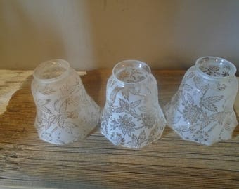 Glass lamp shade etsy set of three frosted floral small glass lamp shades f rom old ceiling fan vintage aloadofball Gallery