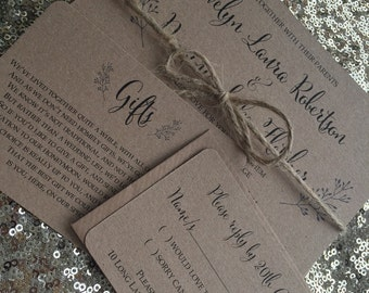 Vintage/Rustic 'Evelyn' wedding invitation/RSVP/Gift card SAMPLE- kraft brown with kraft brown envelopes