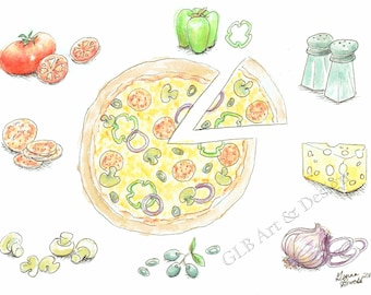 Pizza note cards, pizza art, pizza lovers, pizza gift, pizza party, pizza party invitation, pizza art print, pizza artwork, pizza stationery