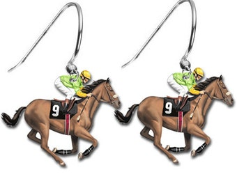 Jockey Horse Racing Earrings Belmont Stakes Churchill Downs Trifecta Equestrian Charm Hoop Earrings