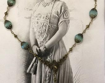 "Natural chalcedony stone ""art nouveau"" necklace"
