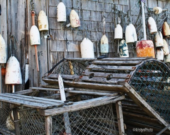 Off Season Lobster Traps n Buoys Nautical Fine Art Photography
