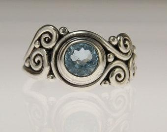Sterling Silver Swiss Blue Topaz Ring/ Blue Topaz Ring/ Unique Blue Topaz Ring/ One of a Kind Ring/ December Birthstone/ Victorian Ring/ 9
