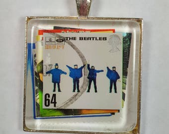 The Beatles Help Beatles Album Cover UK Fab Four John Paul George Ringo Partial Postmark Genuine Postage Stamp Pendant or Key Ring