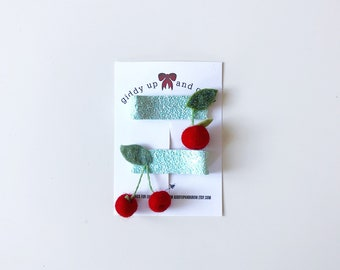Cherry Hair Clip Set Glitter Summer Fruit Giddyupandgrow