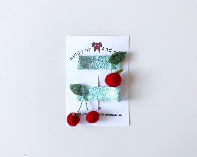 Cherry Hair Clip Set Glitter Summer Fruit Giddyupandgrow