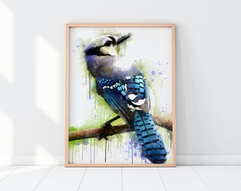 Blue Jay Printable Art, Bird Painting, Bird Print, Blue Jay Watercolor Print, Instant Download, Printable Art,  Wall Art