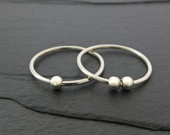 Smooth Bead Sterling Silver Fidget Ring - Petite Thin Sterling Silver Spinning Bead Ring, Worry Ring