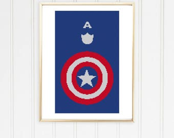 Captain america cross stitch pattern/avengers cross chart/avengers xstitch/marvel cross stitch/winter soldier/ #03-010
