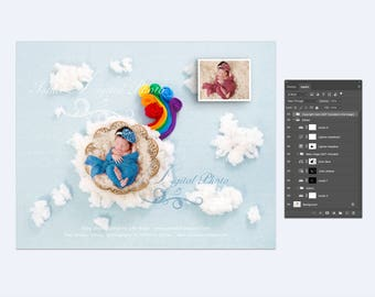 Digital Photography Backdrop /Props for Newborn Photography - psd with Layers - Rainbow baby with cloud and dreamweaver bowl