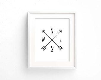 Compass directions printable wall art / north south west east / cardinal directions print / monochrome / custom / arrows digital download