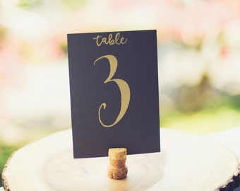 Table Card - Number (Grey/Gold)