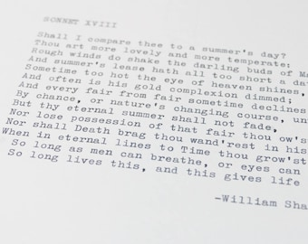 Real Typewriter – Any Shakespeare Sonnet