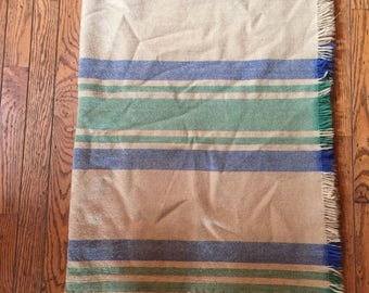 "Vintage Wool Stadium Blanket Striped Pendelton 44"" x 60"""