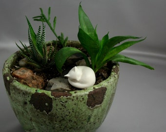 Sleeping Cat (white or black) fits nicely in a planter, terrarium, nook or even a beta fish tank. Too cute.