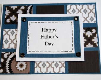 Handmade Happy Father's Day - Handmade Greeting Card, Blue, White, Brown, Tan