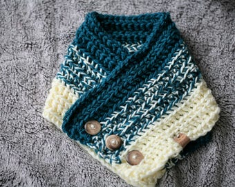 Betty Buttoned Cowl/Scarf/Teal and Cream