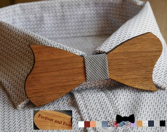 Original wood Bow Tie, hand made in France wood personalized with engraving and ribbon, man wedding gift