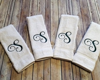 Monogrammed Hand Towels, Personalized, Housewarming Gift, Initial, Bathroom Decor